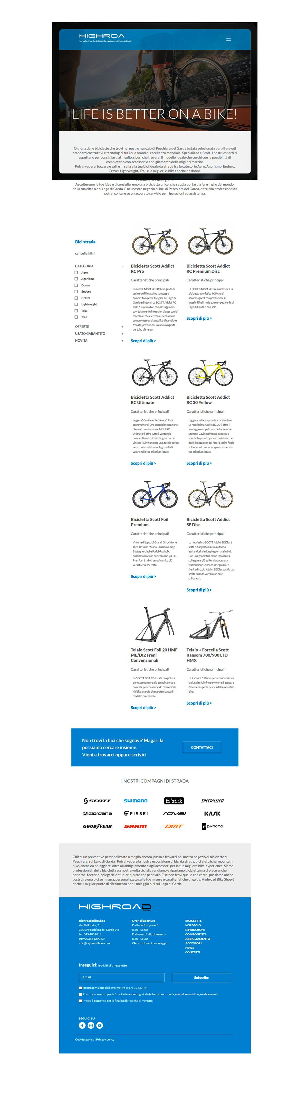Siti web professionali a Verona - Highroad BikeShop   OIS Web Agency