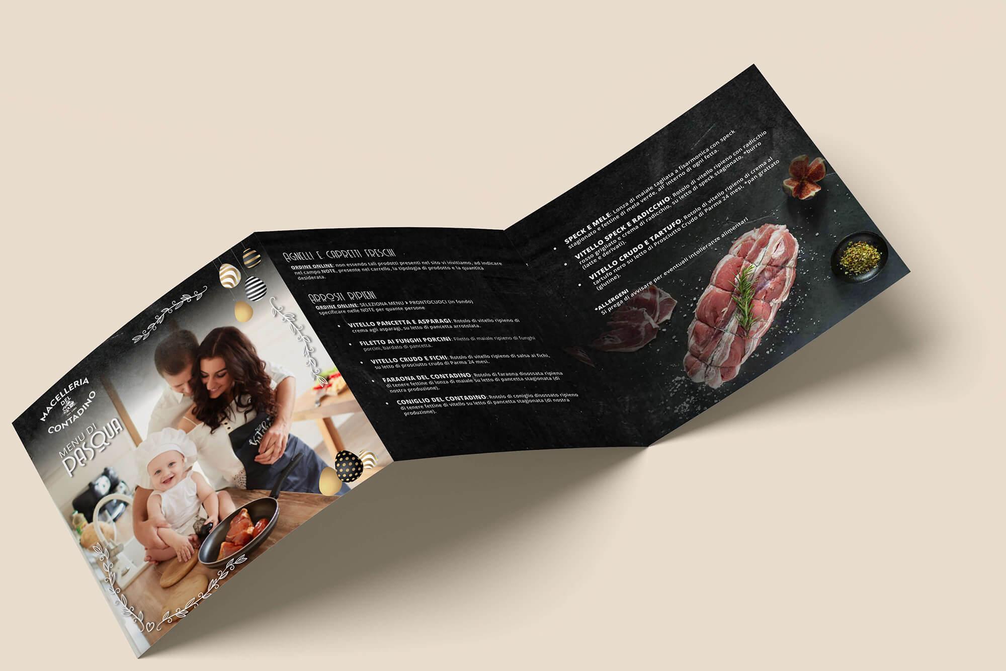 Studio grafico Verona - Realizzazione pieghevoli pubblicitari - Macelleria del Contadino | OIS